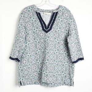 100% linen blouse Jones New York breezy v-neck XL